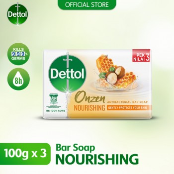 Dettol Anti-Bacterial Body Soap (3's) 100g Onzen Nourishing