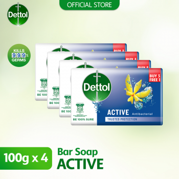 Dettol Anti-Bacterial Body Soap (3+1) 100g Active