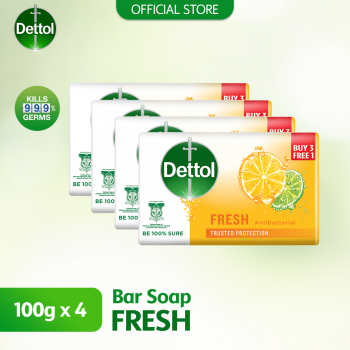 Dettol Anti-Bacterial Body Soap (3+1) 100g Fresh