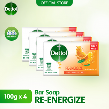 Dettol Anti-Bacterial Body Soap (3+1) 100g Reenergize