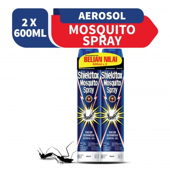 Shieldtox Mosquito Spray Aerosol 600ml x2 (Value Pack)