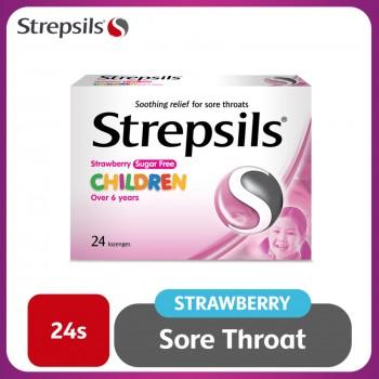 Strepsils Strawberry Sugar Free Lozenges 24s